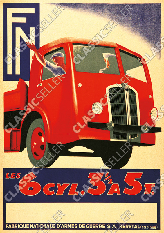 FN Les 6 Cyl. 3,5 a 5 t.Trucks Trucks Poster Picture