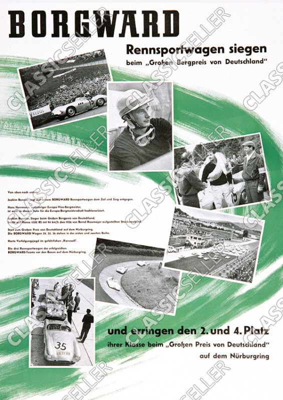 "Borgward ""Racing cars win, big mountain price of Germany"" Motorsport Poster Picture"