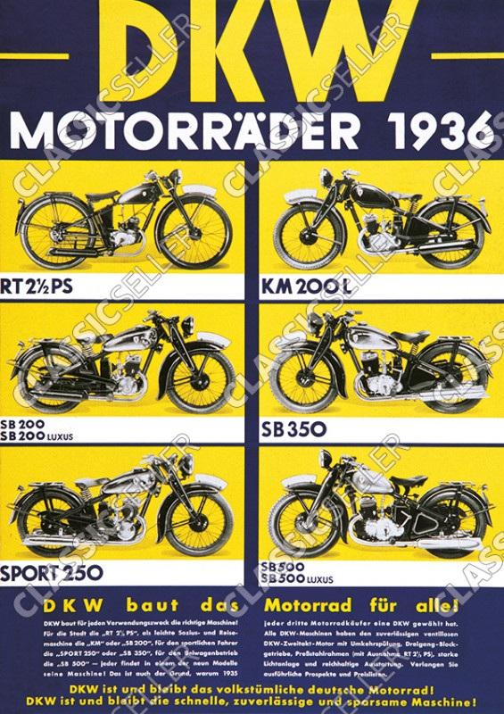 "DKW ""Motorräder 1936"" RT 2,5 PS SB 200 350 500 Luxus 250 Sport KM 200 L Poster Plakat Bild"