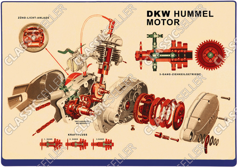DKW Hummel Motor Schnittzeichnung Explosionszeichnung Moped Poster Plakat Bild