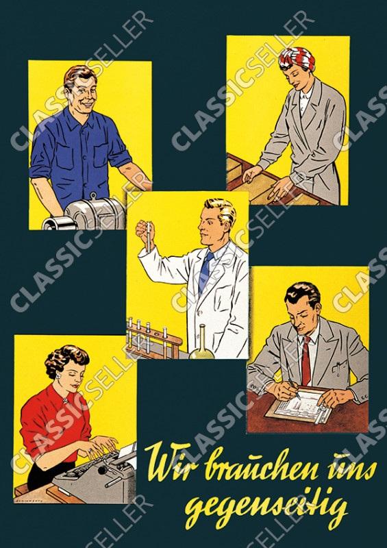 """""""Wir brauchen uns gegenseitig"""" Arbeit Beruf Menschen Poster Plakat Bild"""