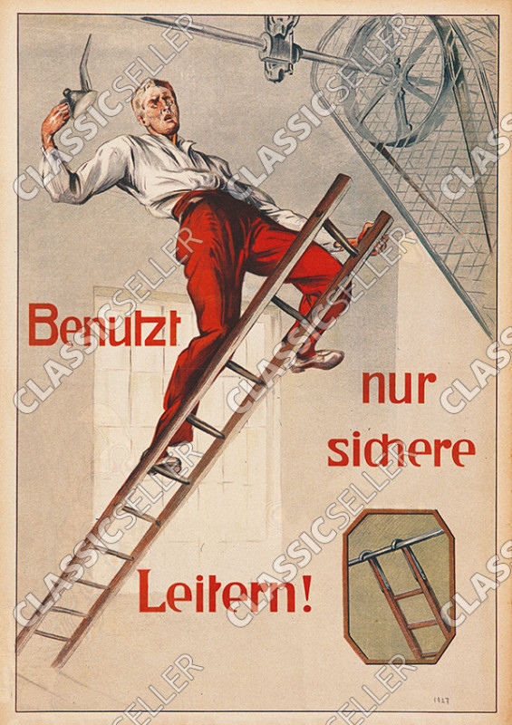 "Industrial safety ""Use safe ladders"" Safety Note Poster Warning"