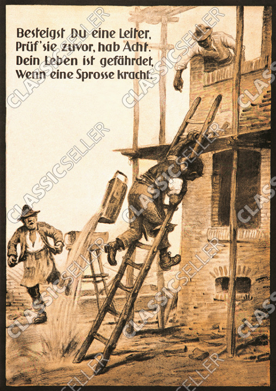 "Occupational safety ""Check ladder rung"" Ladder Safety Note Poster Warning"
