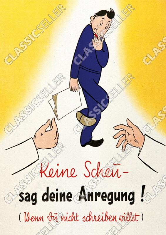 """""""Keine Scheu - sag deine Anregung"""" Meinung Poster Plakat Bild Hinweis"""