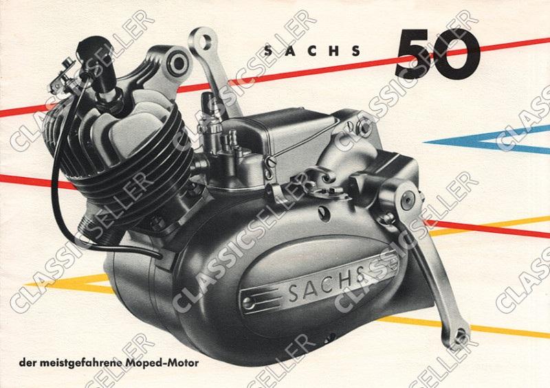 """Sachs 50 ccm """"Der meistgefahrene Moped-Motor"""" Moped Motor Poster Plakat Bild"""