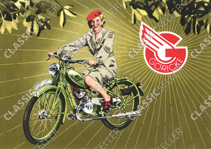 Göricke 98er Damen Motorfahrrad Sachs 98 ccm Poster Plakat Bild