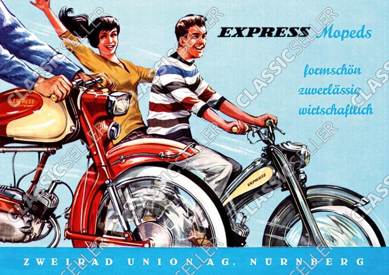 """Express Mopeds """"Formschön, zuverlässig, wirtschaftlich"""" Poster Plakat Bild"""