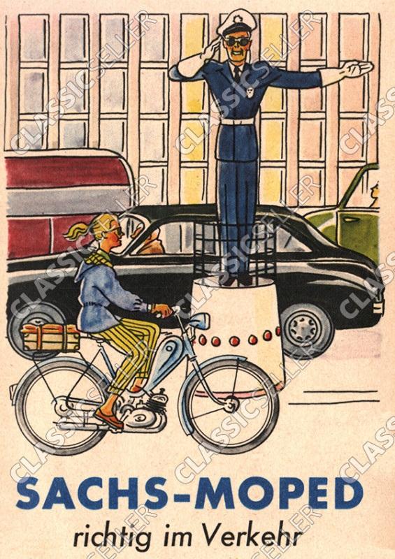 "Sachs ""Sachs Moped richtig im Verkehr"" Poster Plakat Bild"