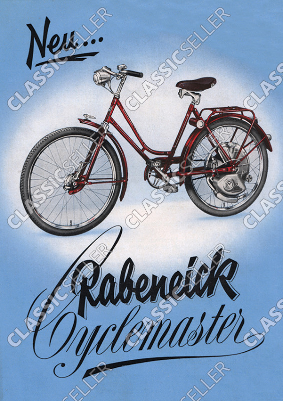 Rabeneick Cyclemaster Motorbike Bicycle with auxiliary engine Poster Picture