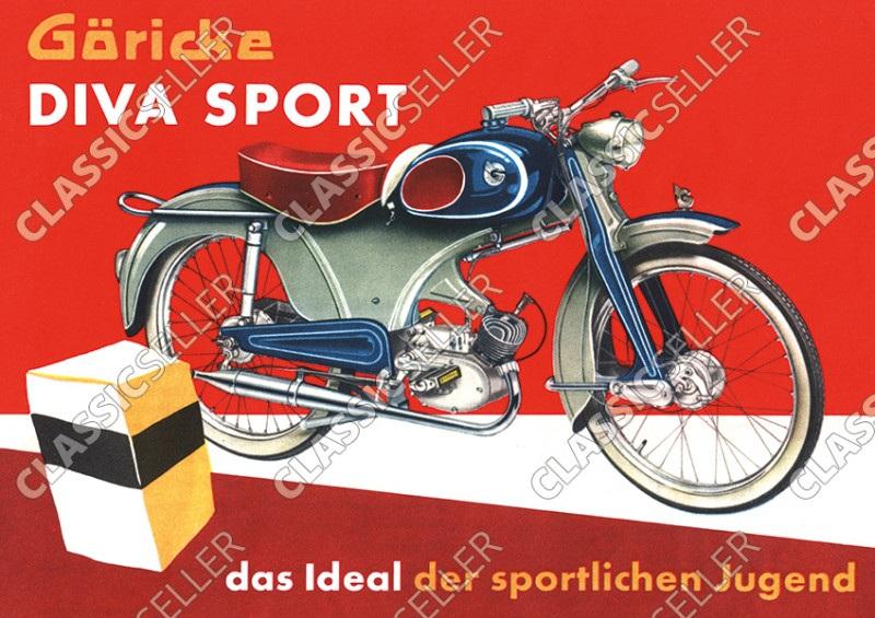Göricke Diva Sport Moped Poster Plakat Bild