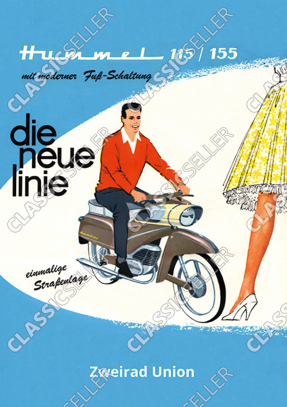 """DKW Victoria Express (Zweirad Union) Hummel Type 115 155 """"The new line"""" Moped Poster Picture"""