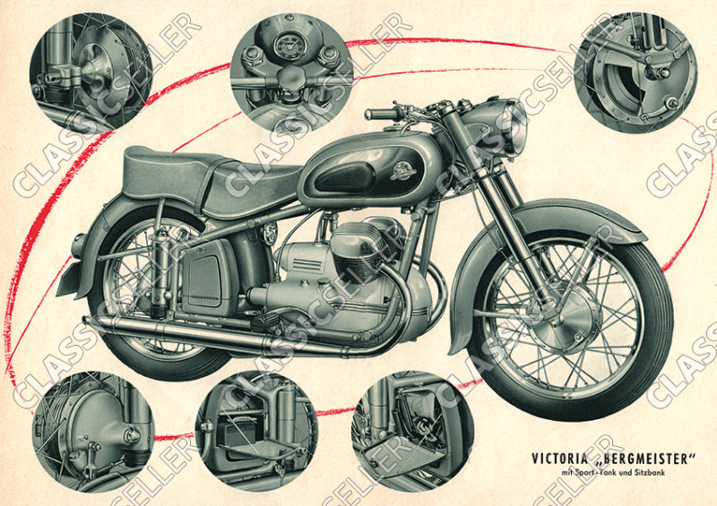 """Victoria Bergmeister V 35 """"With sports tank and bench"""" Motorcycle Poster Picture"""