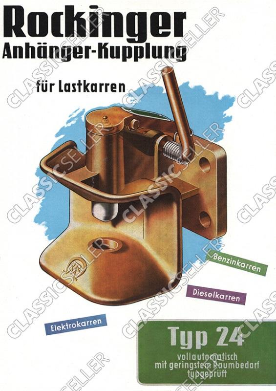 Rockinger Typ 24 Lastkarren Anhänger-Kupplung Anhängerkupplung Reklame Werbung Poster Plakat Bild