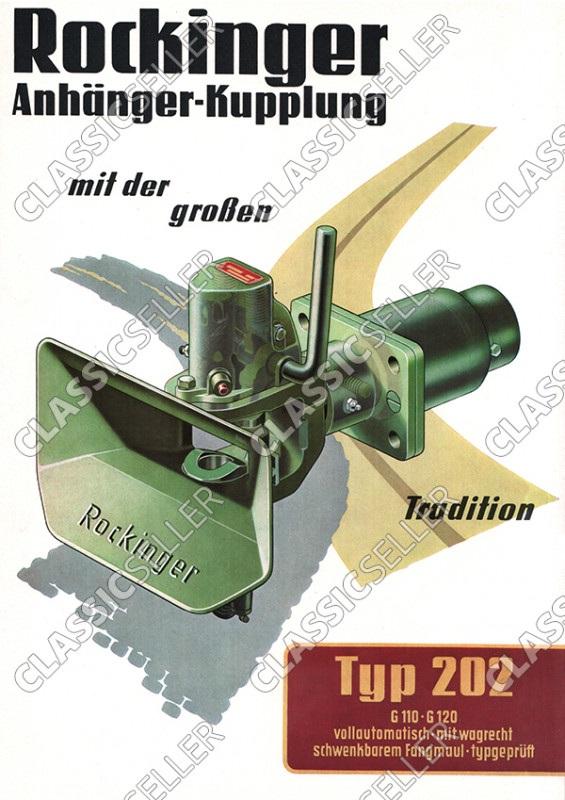 Rockinger Typ 202 G 110 120 Anhänger-Kupplung Anhängerkupplung Reklame Werbung Poster Plakat Bild
