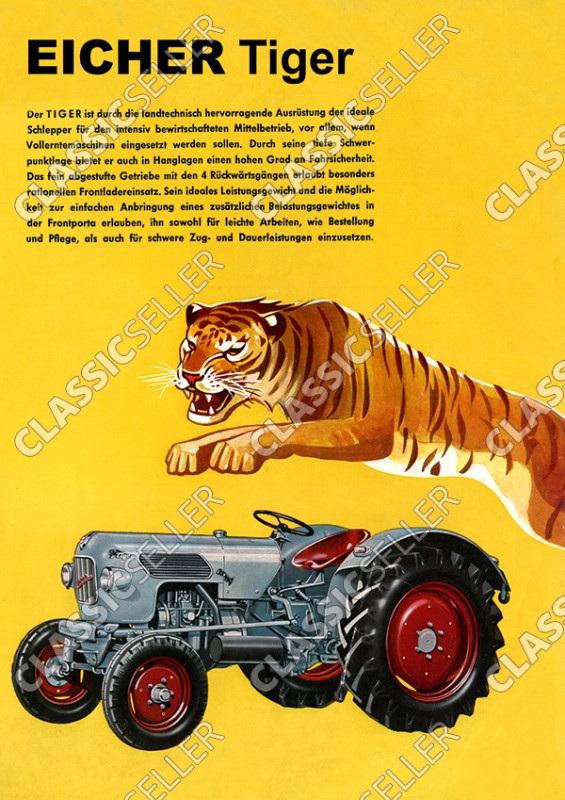 Eicher Tiger Traktor Schlepper Reklame Werbung Poster Plakat Bild