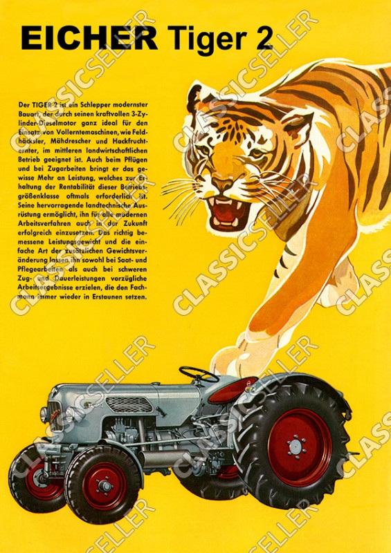Eicher Tiger 2 Traktor Schlepper Reklame Werbung Poster Plakat Bild