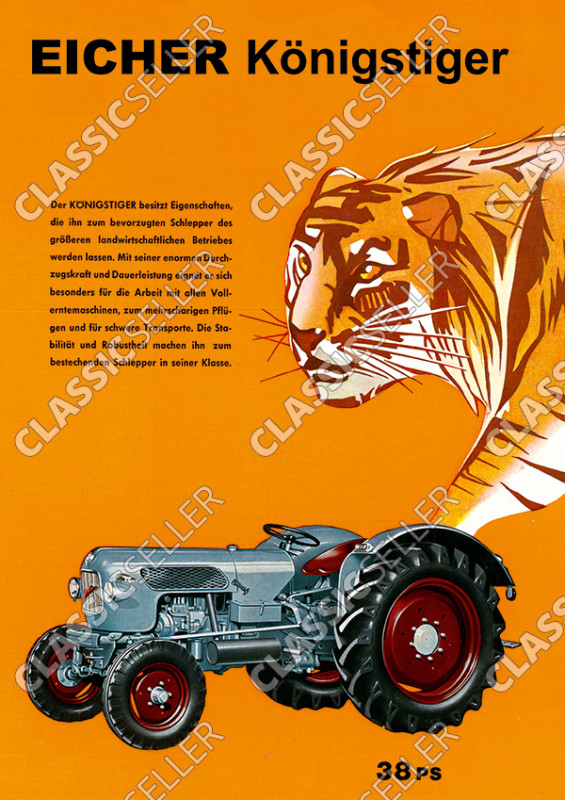 Eicher Königstiger Traktor Schlepper Reklame Werbung Poster Plakat Bild