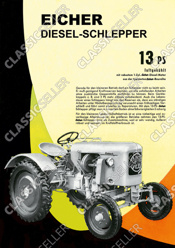 Eicher ED 13 PS ED13 luftgekühlt Traktor Schlepper Reklame Werbung Poster Plakat Bild