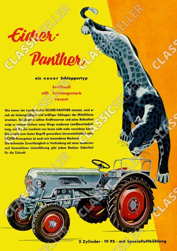 Eicher Panther 19 PS Traktor Schlepper Reklame Werbung Poster Plakat Bild
