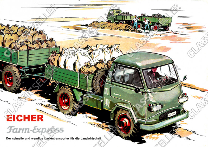 Eicher Farm-Express Lastwagen Transporter Farmexpress LKW Poster Plakat Bild