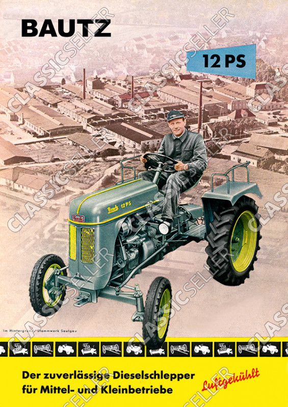 Bautz 12 PS 12PS luftgekühlt Traktor Dieselschlepper Poster Plakat Bild