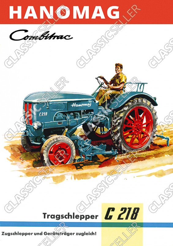 Hanomag Combitrac C 218 C218 Traktor Dieselschlepper Poster Plakat Bild