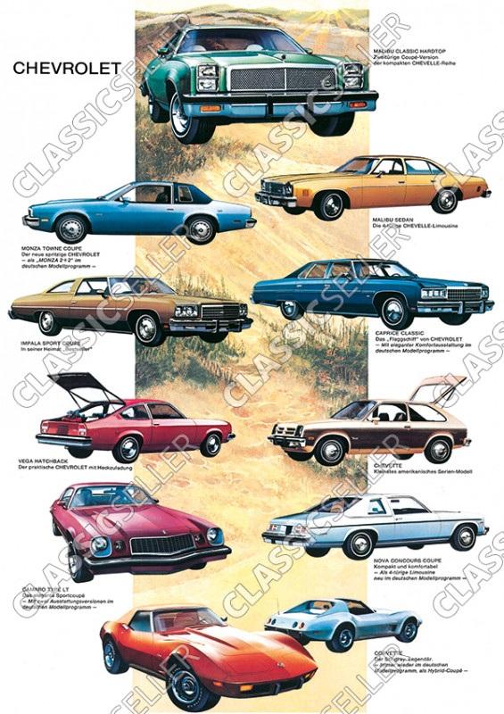 Chevrolet Modellübersicht Modelle Typen Tafel Auto Poster Plakat Bild