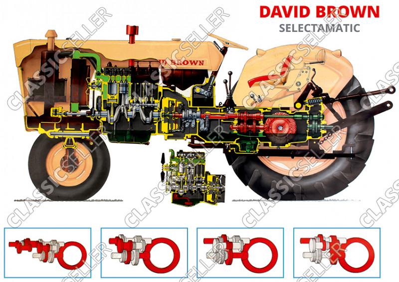 David Brown 770 880 990 Selectamatic Traktor Schlepper Poster Plakat Bild