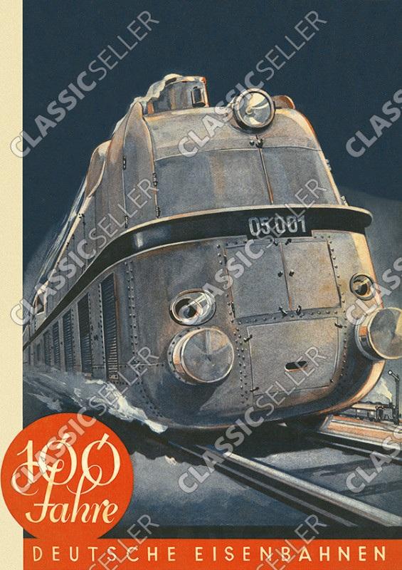100 Jahre Deutsche Eisenbahnen (Deutsche Bahn) Jubiläum Poster Plakat Bild