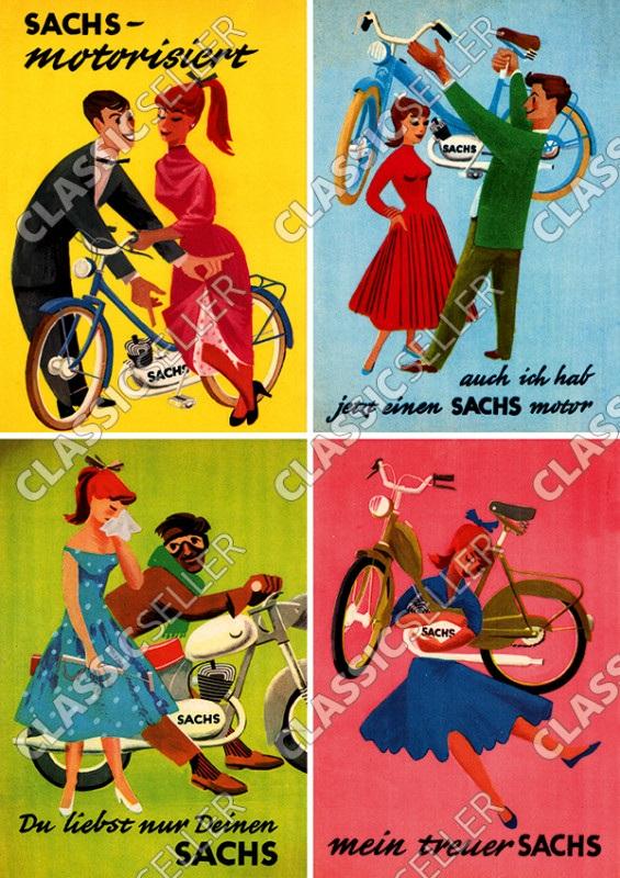 """Sachs Motoren """"Mit Sprüchen"""" Moped Motorfahrrad Poster Plakat Bild"""