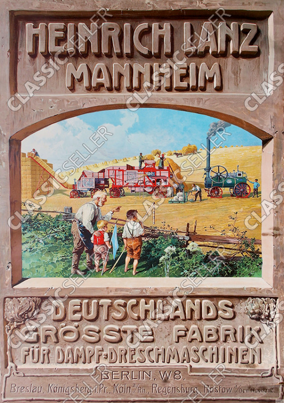 Heinrich Lanz Mannheim steam threshing machine tractor advertisement advertisement sign poster poste