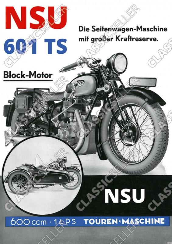 NSU 601 TS Motorrad 600 ccm 14 PS Blockmotor Seitenwagen Poster Plakat Bild