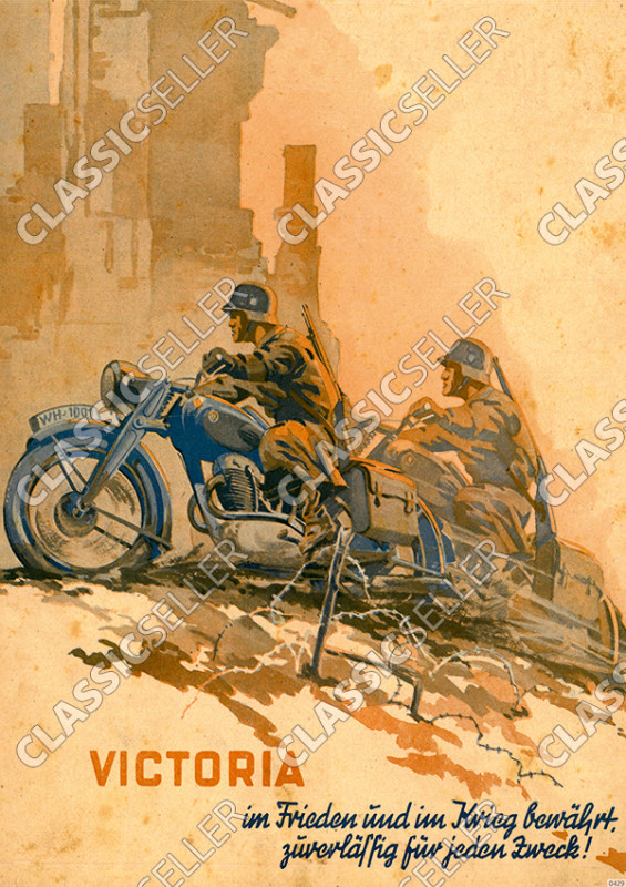Victoria Wehrmacht 1942 Motorrad Poster Plakat Bild