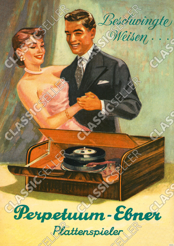 Perpetuum-Ebner Plattenspieler Werbung Reklame Musik Poster Plakat Bild
