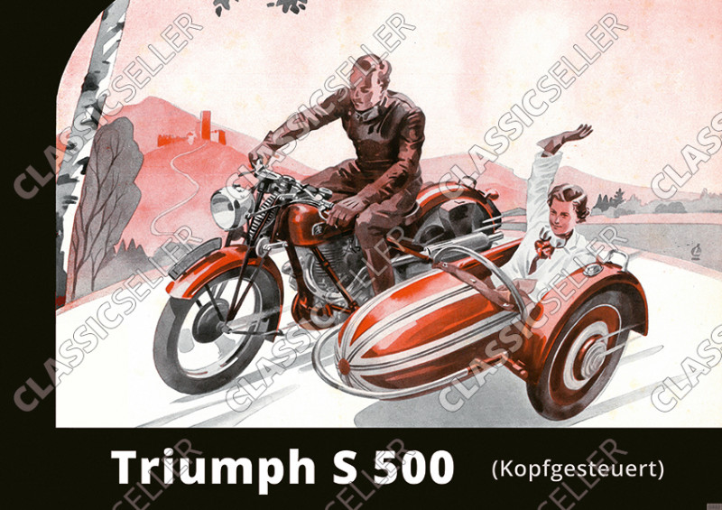 Triumph S500 S 500 Motorcycle with Steib sidecar Poster Picture