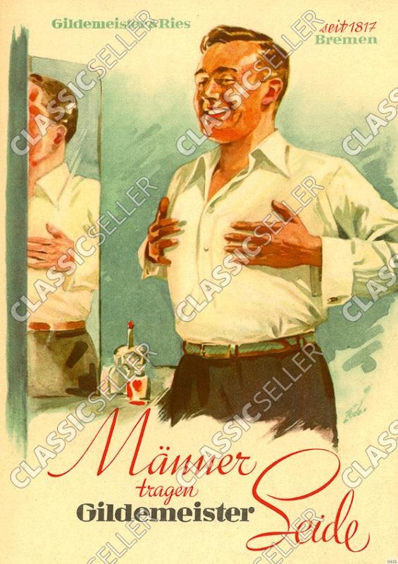 Gildemeister und Ries Seidenhemden Seide Hemd Herren Männer Werbung Reklame Poster Plakat