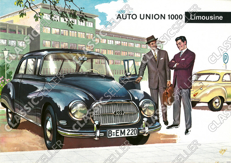 Auto Union 1000 Limousine Werbung Reklame Poster Plakat Bild
