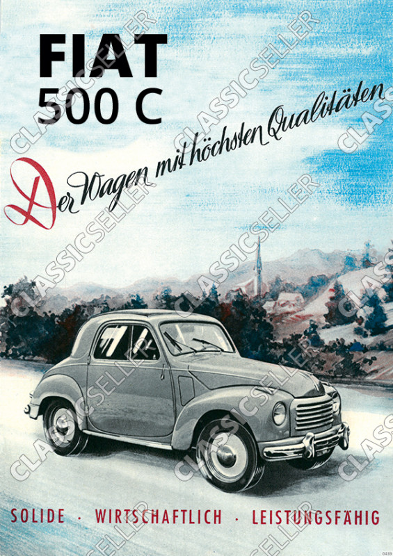 Fiat 500 C NSU-Fiat Topolino Auto PKW Poster Plakat Bild