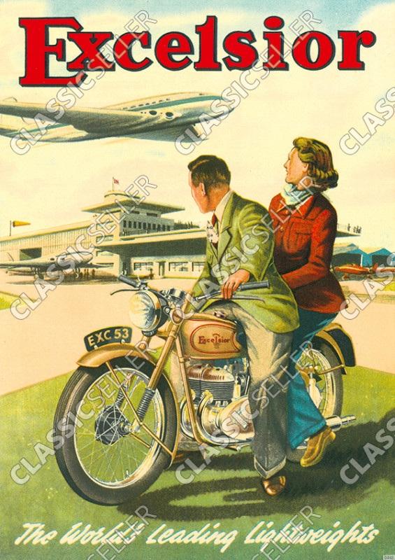 Excelsior Motorräder Motorrad am Flugplatz Poster Plakat Bild