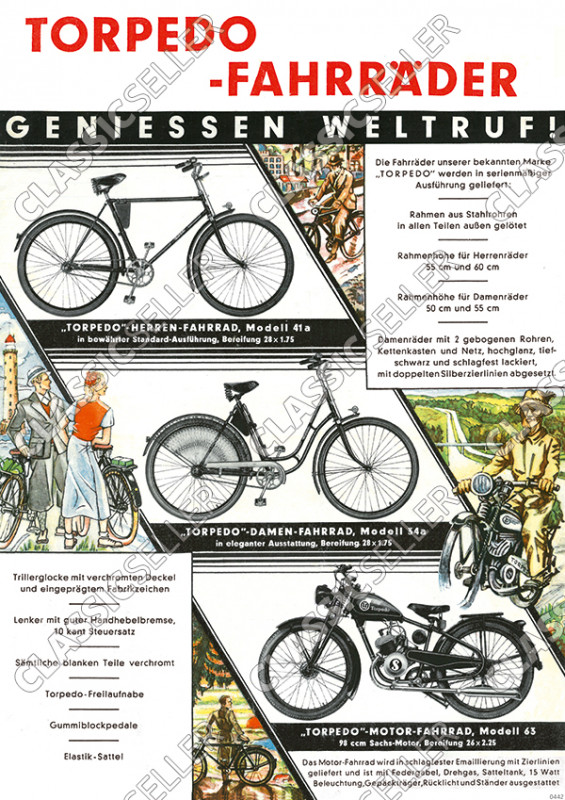 Torpedo bicycles bicycle type plate model overview poster Picture