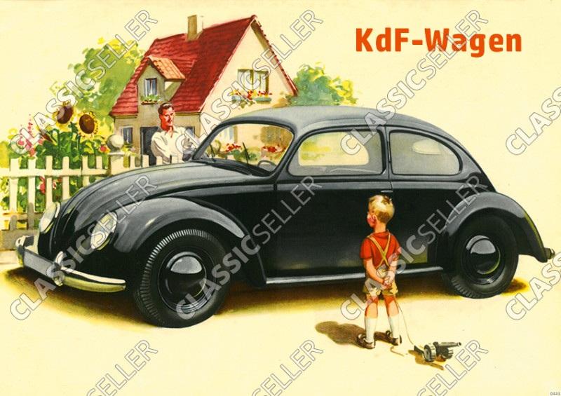 """VW KdF-Wagen Käfer """"Familie, Kind mit Spielzeug"""" Poster Plakat Bild"""