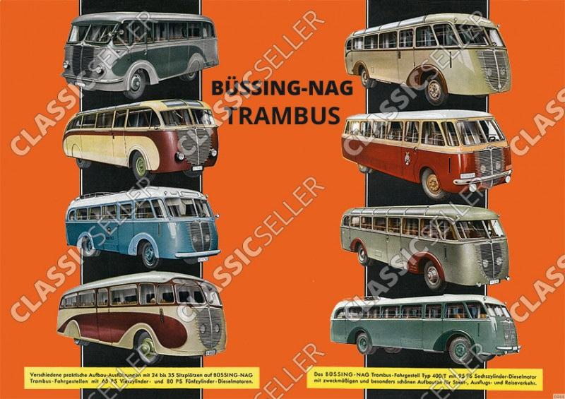 Büssing-Nag Trambus Modellübersicht Typentafel Poster Plakat Bild