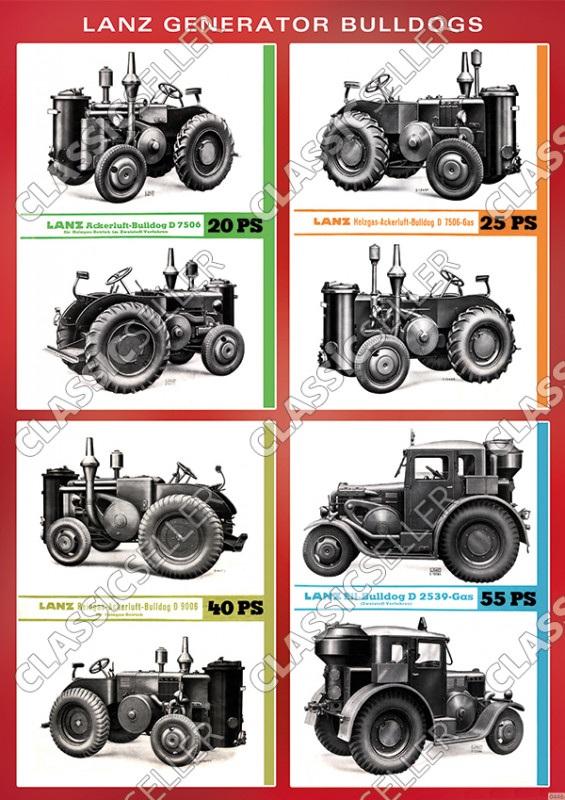 Lanz Generator-Bulldogs Modellübersicht Typentafel Poster Plakat Bild