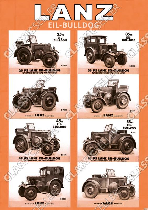 Lanz Eil-Bulldogs Modellübersicht Typentafel Poster Plakat Bild