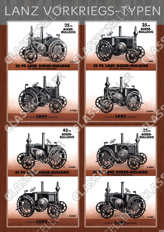 Lanz Acker-Bulldog pre-war types model overview type plate Poster Picture