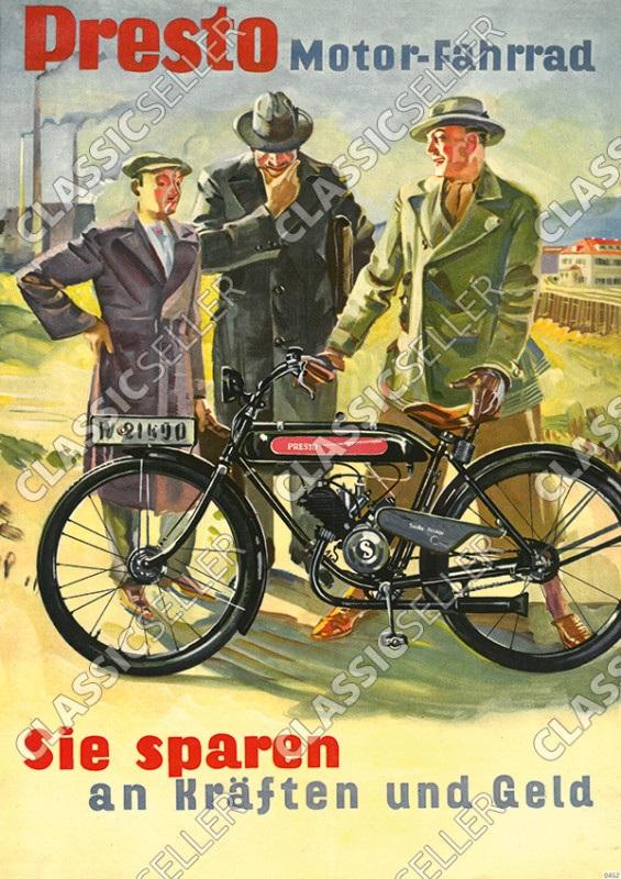 Presto Motor-Fahrräder Fahrrad Sachs-Motor Poster Plakat Bild