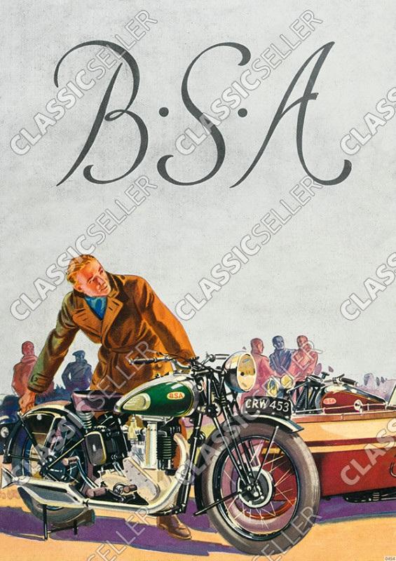 BSA Motorräder Motorrad 250 350 500 600 750 OHV Modell B 19 20 21 22 23 24 25 26 Poster Plakat Bild