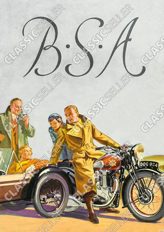 BSA Motorräder Motorrad 250 350 500 600 750 OHV B 19 20 21 22 23 24 25 26 Seitenwagen Poster Plakat