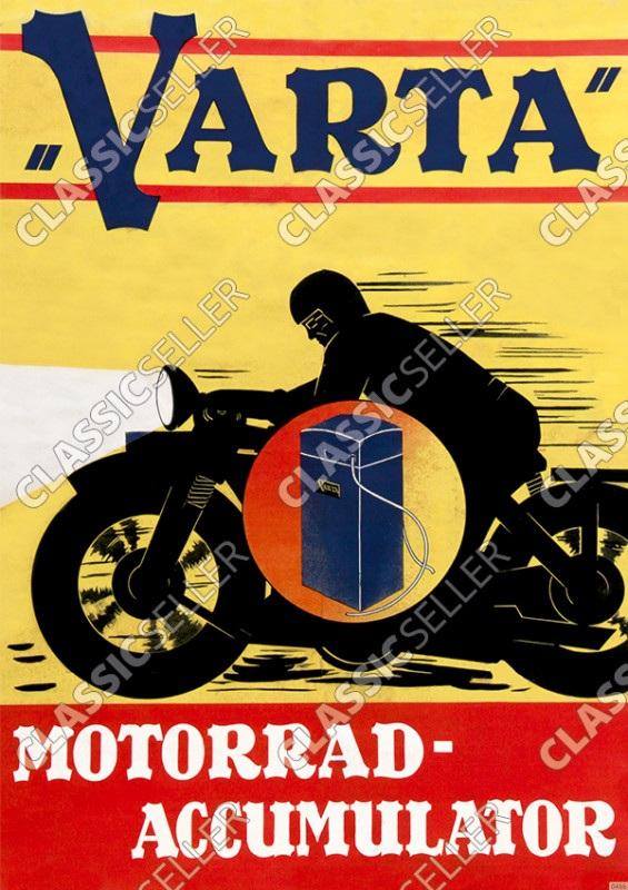 Varta Accumulator Akku Batterie Historische Reklame Werbung Motorrad Motorräder Poster Plakat Bild