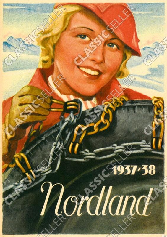 Nordland Schneeketten 1937-1938 Reifen Winter Reklame Werbung Poster Plakat Schild Bild